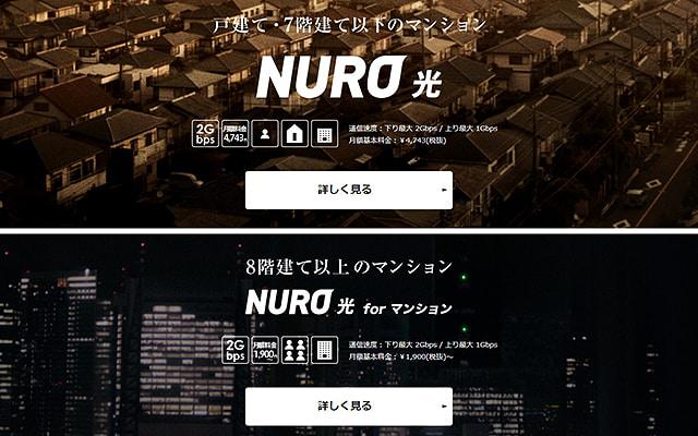 NURO光のサイトイメージ