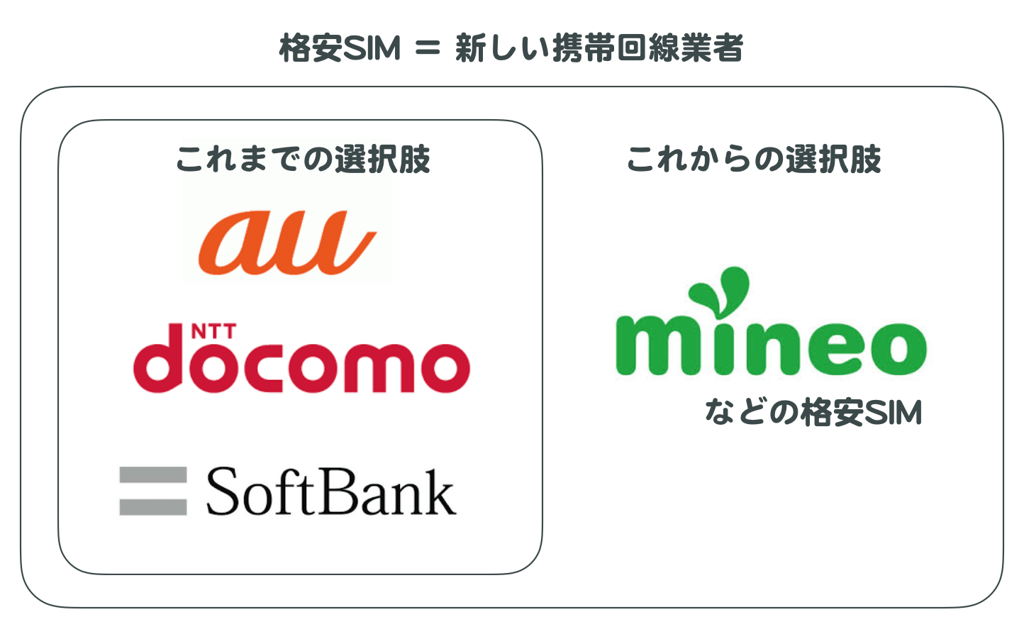 格安SIM=新しい携帯回線業者 これまでの選択肢がau/docomo/Softbankなのに対し、これからの選択肢にはmineoなどの格安SIMが増えた