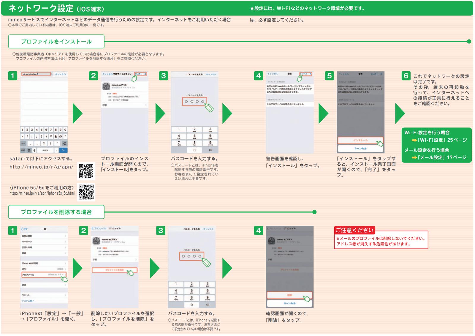mineoご利用ガイド、ネットワーク設定のページ