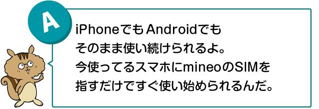 「iPhoneでもAndroidでもそのまま使い続けられるよ。今使ってるスマホにmineoのSIMを挿すだけですぐ使い始められるんだ」話す兄リス
