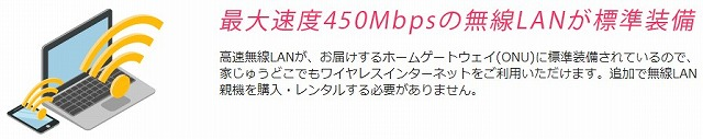 NURO光 無線LAN標準装備のイメージ
