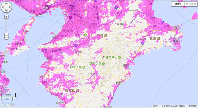 WiMAXのエリアマップを見ると、まだまだ対応しきれていない地域もあることがわかる。