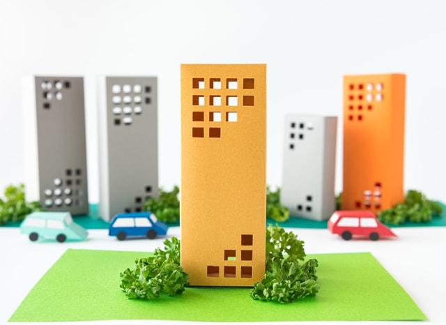 紙のマンションの模型