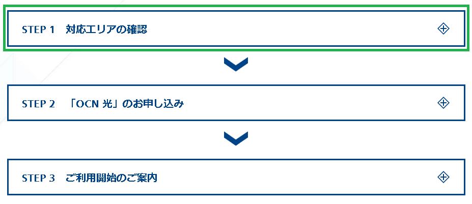 OCN光公式ページの「ご利用までの流れ」から「STEP1:対応エリアの確認」を開きます