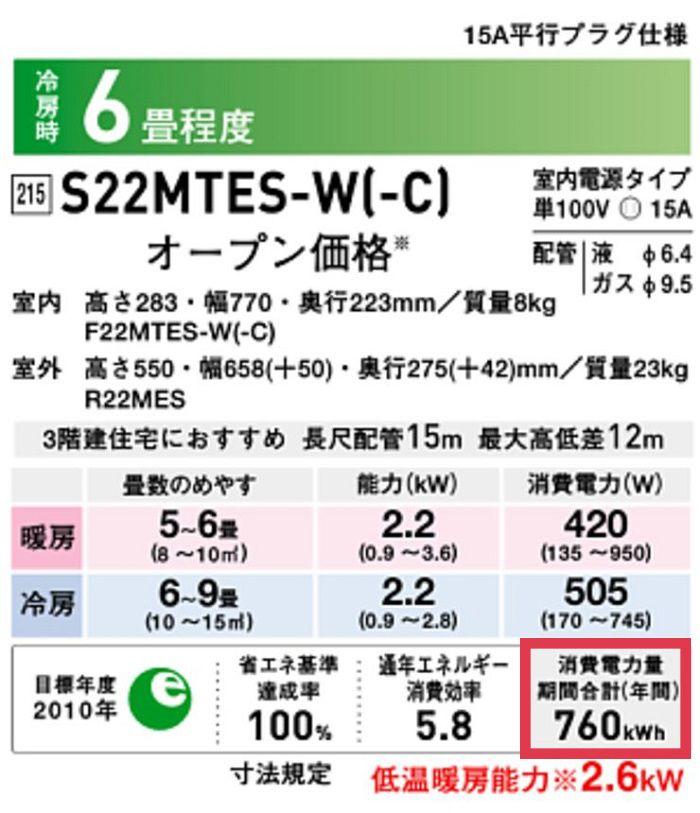 エアコンのスペック表中の消費電力量期間合計