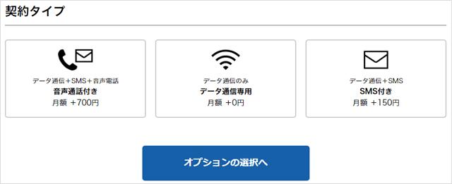 nuroモバイルお申し込み手順その4 契約タイプ