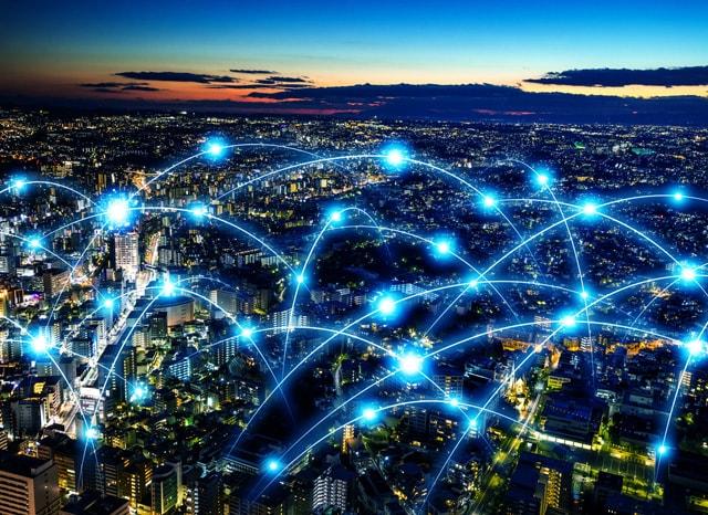 都市に飛び交う光回線の様子
