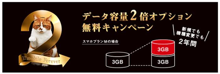 Y!mobile「データ容量2倍オプション無料キャンペーン