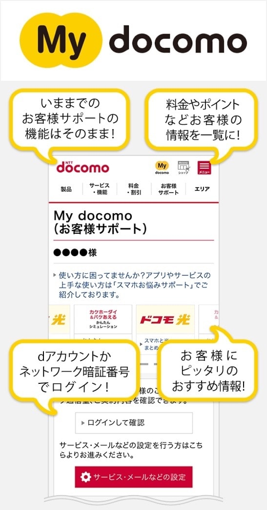 NTT ドコモ「お客様サポートがスマートフォン版「My docomo」に変わりました
