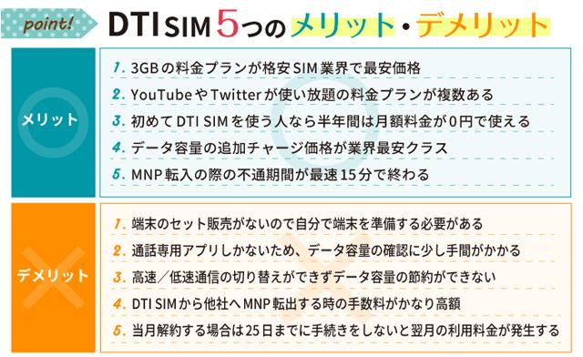 DTI SIM5つのメリット・デメリット
