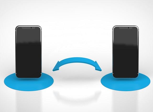 2台のスマホのデータ交換を表すイラスト