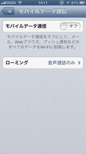 iPhone 設定画面 3GやLTEを停止