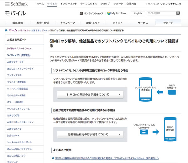 ソフトバンクのサイト例
