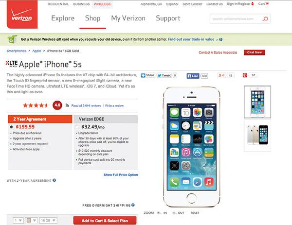 ベライゾン社のiPhone購入画面