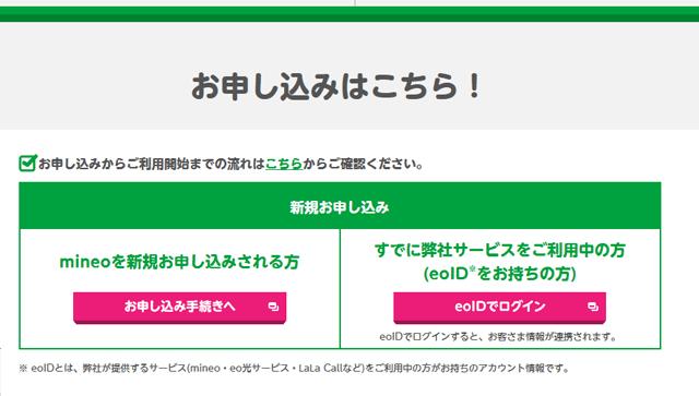 mineo「お申込みからご利用開始までの流れ」