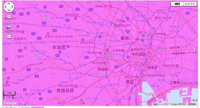 東京のWiMAX2+の対応エリアの図