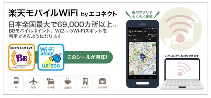 BBモバイルポイント、 Wi2のWi-Fiスポットが利用できる「楽天モバイルWiFi by コネクト」が無料で利用できる
