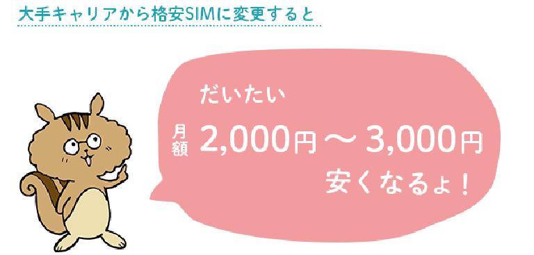 大手キャリアから格安SIMに乗り換えると大体2000円~3000円安くなるよ!