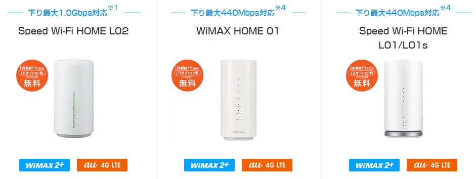 ホームルーター wimax