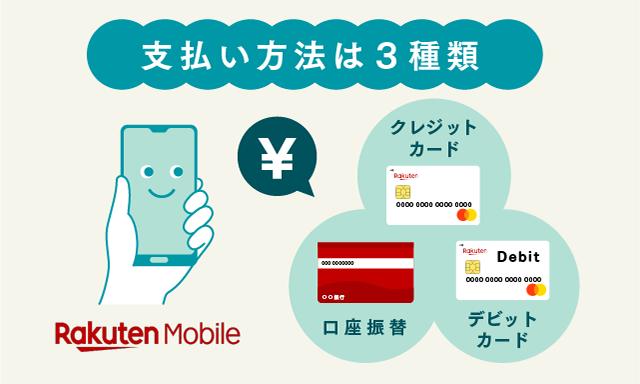 楽天モバイルの支払い方法3種類