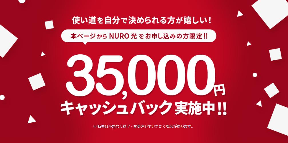 画像引用:NURO光公式キャンペーン限定サイト