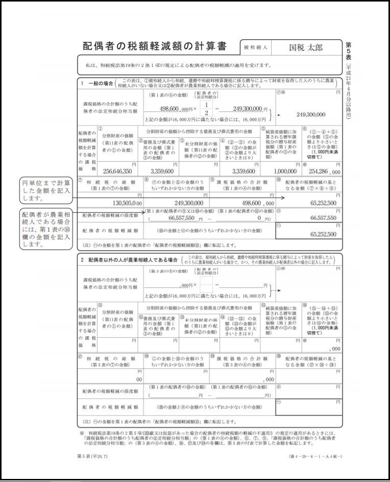 配偶者の税額軽減額の計算書