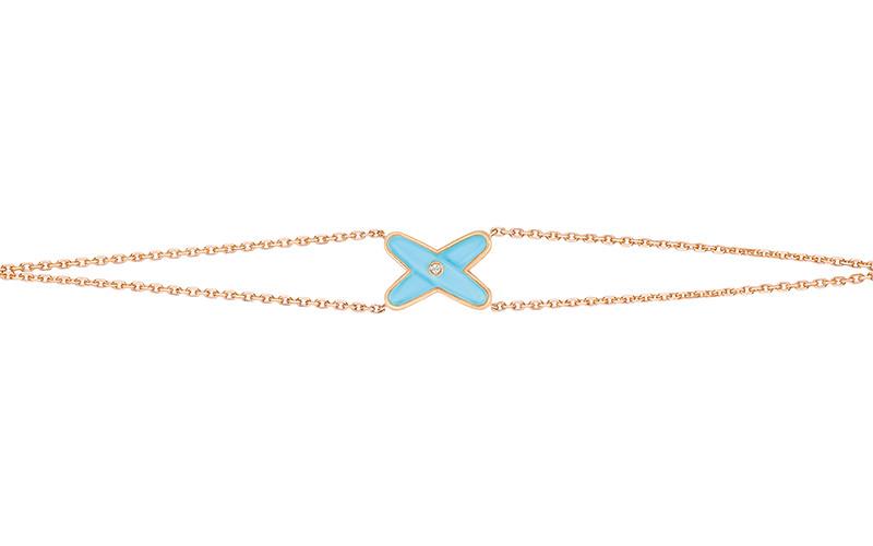 「リアン・ドゥ・ショーメ」 ジュ・ドゥ・リアン ブレスレット(PG×ダイヤモンド×ターコイズ)¥140,000