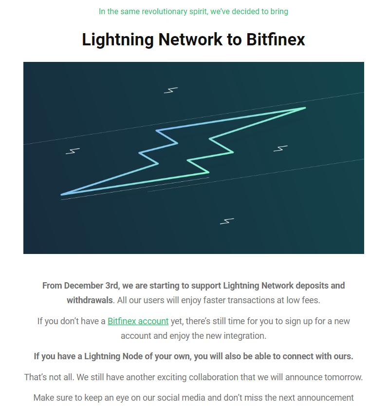⚡⚡Bitfinexがライトニング・ネットワークに対応!LNを利用して取引が可能に!⚡⚡