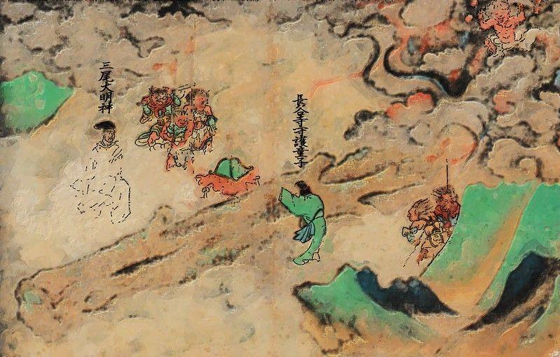 『長谷寺縁起絵巻』に描かれた、白蓮華谷から流出した楠の霊木と、三尾明神と、異形の鬼たち