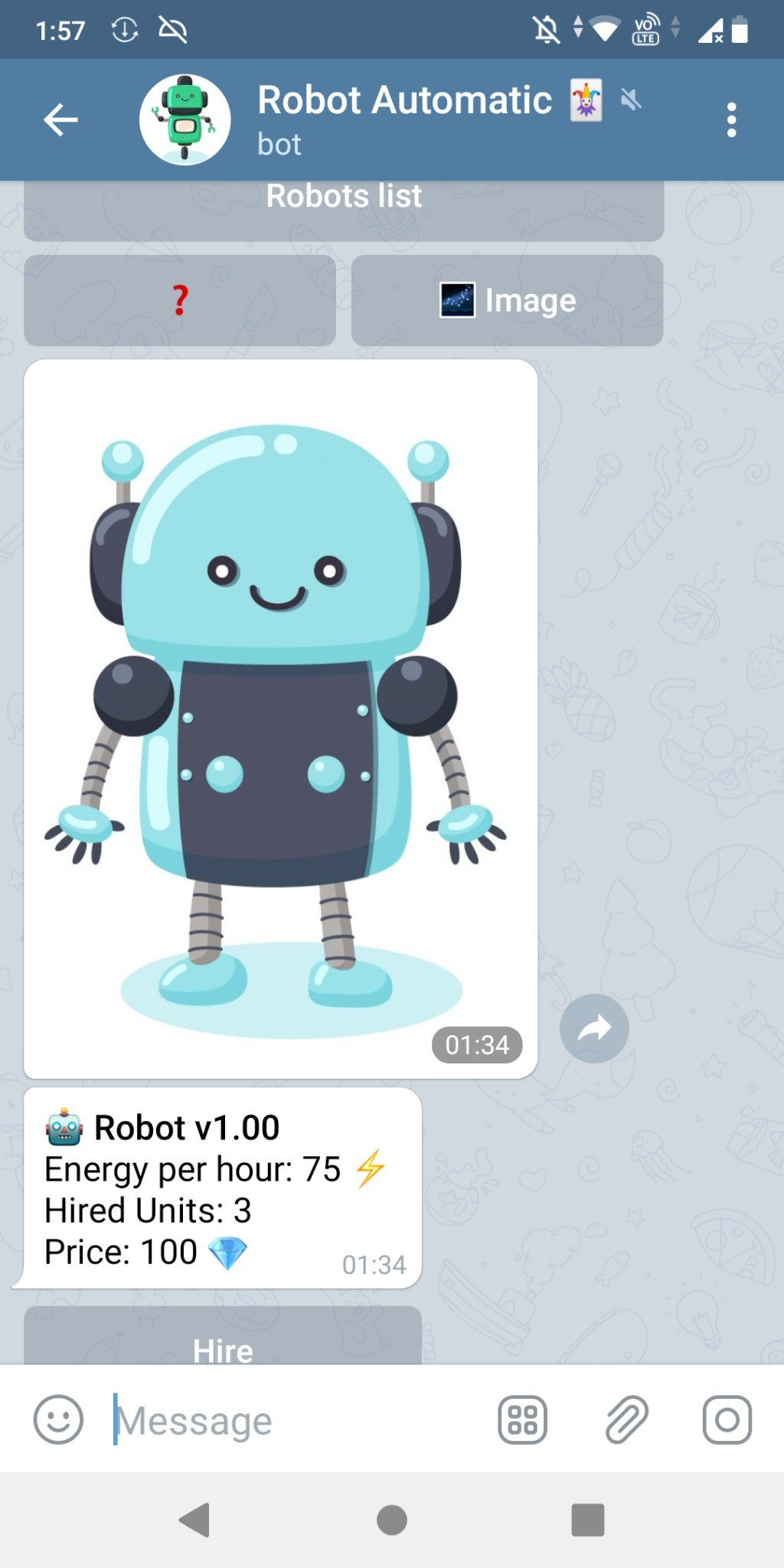 ロボを雇った(Robot Automatic Telegram bot)