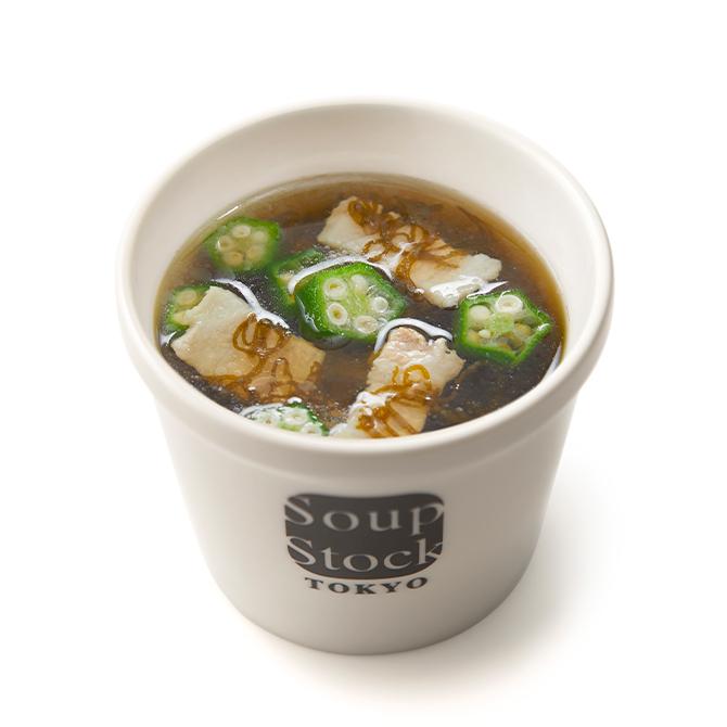 いぜな島産もずくとオクラのスープ