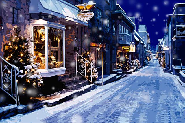 クリスマスツリーのある雪のケベックの街並み Cg カナダ00299010433の