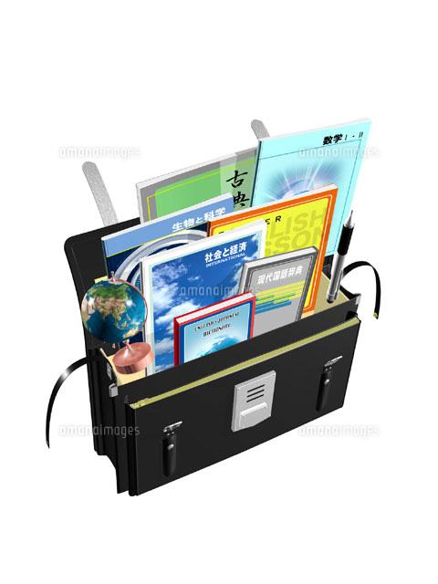 黒い学生カバンと教科書地球儀など Cgイラスト00330000757の写真素材