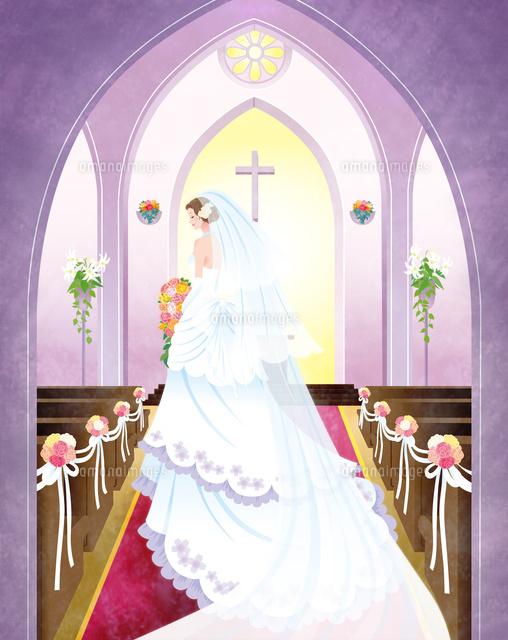チャペルのバージンロードを歩く花嫁00832000042の写真素材イラスト