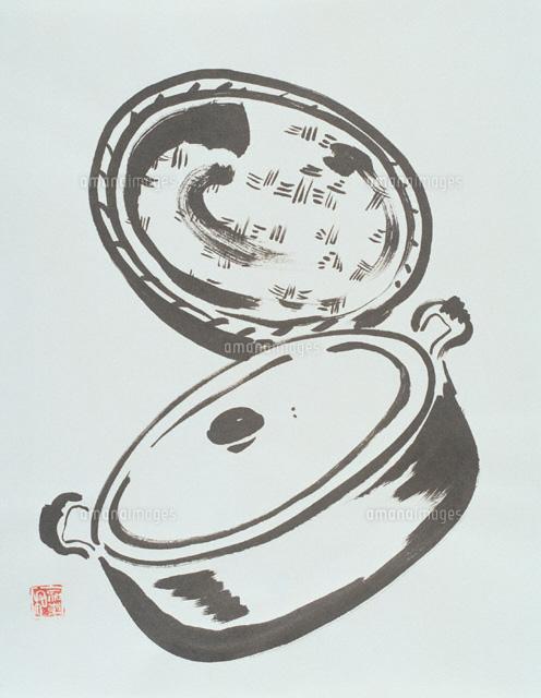 鍋とざる 墨絵00842010062の写真素材イラスト素材アマナイメージズ