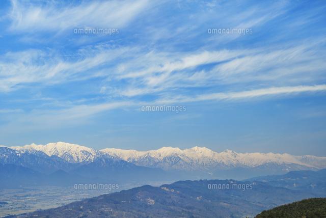 長峰山頂より残雪の北アルプス後...