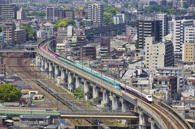 東京を走る東北新幹線はやぶさと秋田新幹線スーパーこまち01071011847