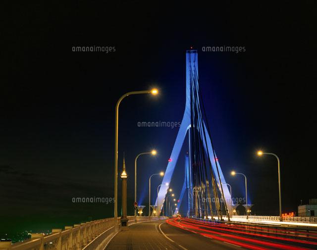青森ベイブリッジ夜景 青森県[01080001648]| 写真素材・ストック ...