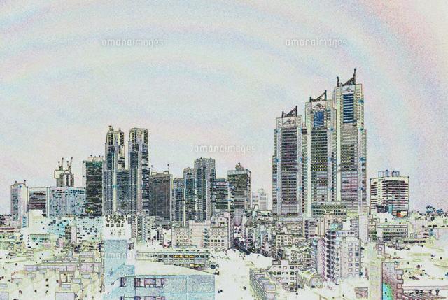 新宿のビル群のイラスト01368000246の写真素材イラスト素材アマナ