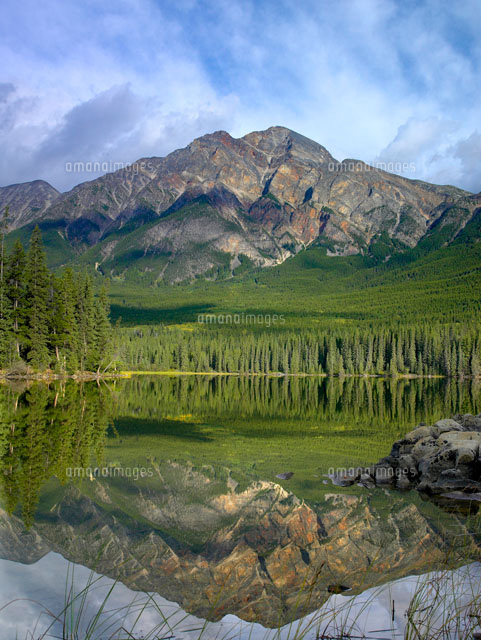 pyramid mountain and boreal forest reflected in pyramid lake