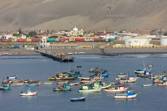 Town and fishing boats