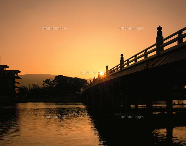瀬田の唐橋の夕景 滋賀県