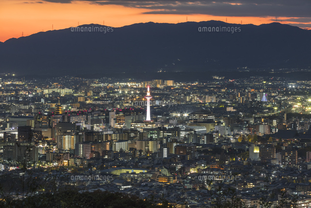 京都市街の夕景