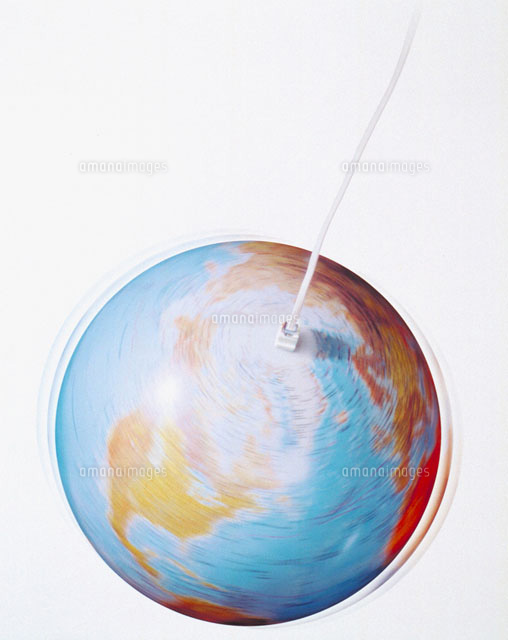 Phone wire with spinning globe