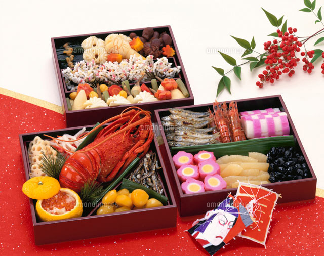 重箱のおせち料理とナンテン[02022030289]| 写真素材・ストックフォト・画像・イラスト素材|アマナイメージズ