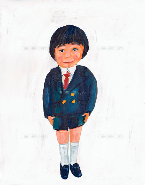 制服姿の日本人男子 イラスト02112010196の写真素材イラスト素材