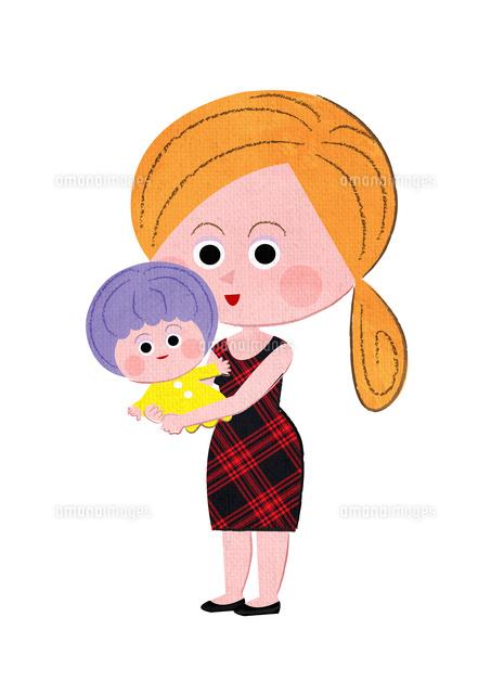 ママが赤ちゃんを抱っこする02130010050の写真素材イラスト素材