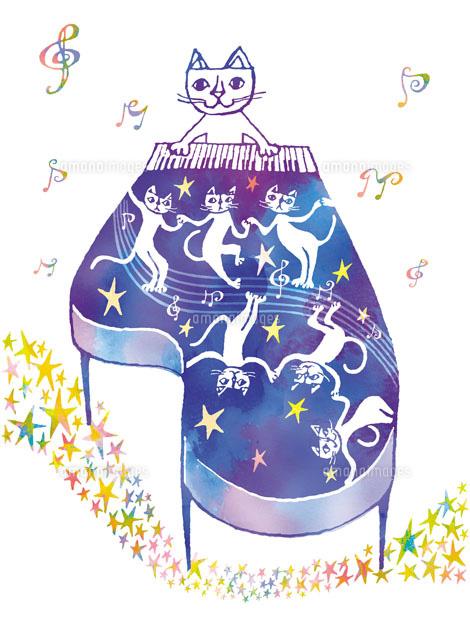 ピアノを弾くねことダンスするねこ02221000192の写真素材イラスト
