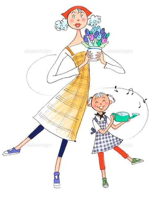 植木鉢を持った母とジョーロを持った娘02237000655の写真素材