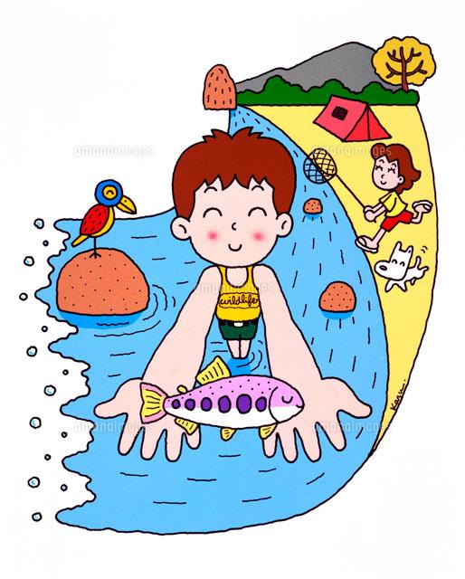 夏休みはキャンプに水遊びにお魚さん02237002182の写真素材イラスト